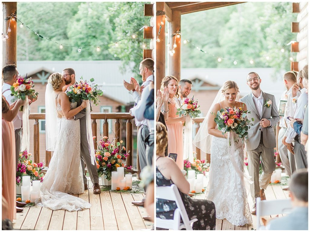 ceremony at the hearthside cabin on the patio