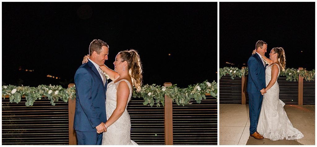 Nighttime portrait of bride and groom at their pigeon forge wedding