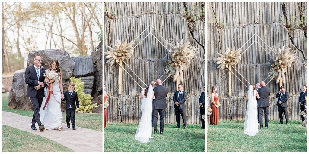 Boho styled wedding ceremony at The Quarry Venue