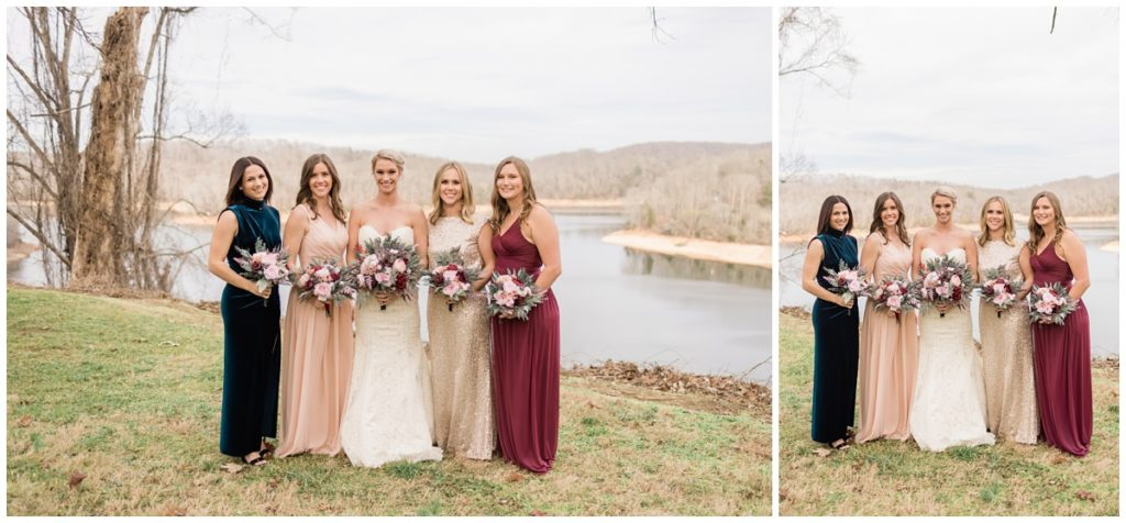 Bridesmaid photos by the lake in Rocky Top, Tennessee